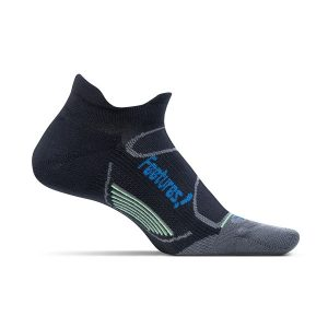 Feetures Elite Light Cushion Socks No Show_Black-Pacific Blue