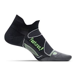 Feetures Elite Ultra Light Cushion Socks No Show_Black-Reflector