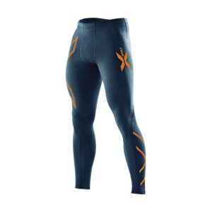 2XU Men  Compression Tights_Navy-Torch Orange