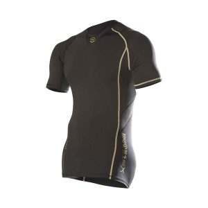 VIRUS Men's BioCeramic Short Sleeve X-Form Compression V-Neck (Au7x)_Black