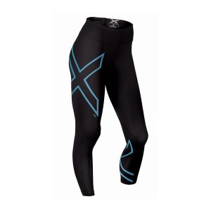 2XU Women's ICE Mid-Rise Comp Tights-Black-Cool Blue