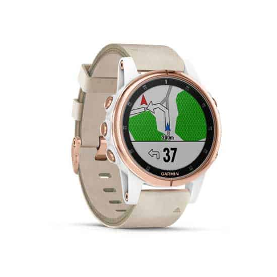 Garmin-Fenix-5S-Plus-Sapphire-Rose-Gold-with-Leather-White-Band-1