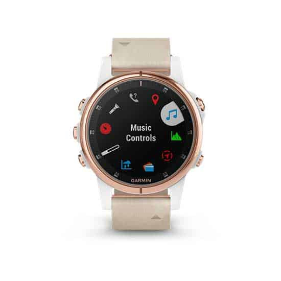 Garmin-Fenix-5S-Plus-Sapphire-Rose-Gold-with-Leather-White-Band-2