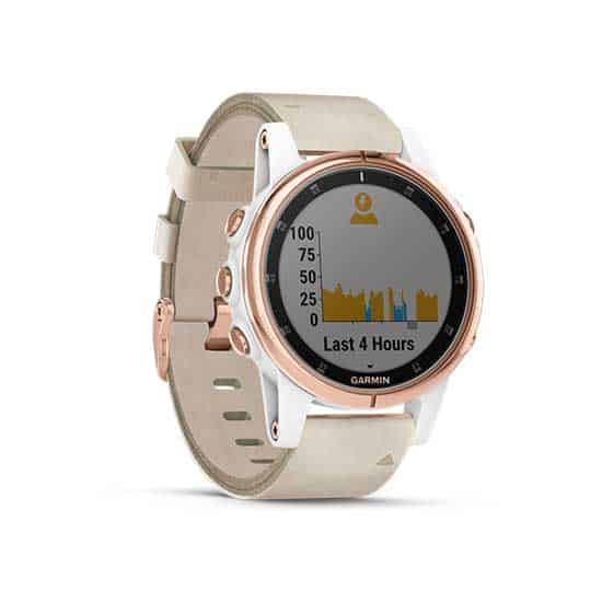 Garmin-Fenix-5S-Plus-Sapphire-Rose-Gold-with-Leather-White-Band-3