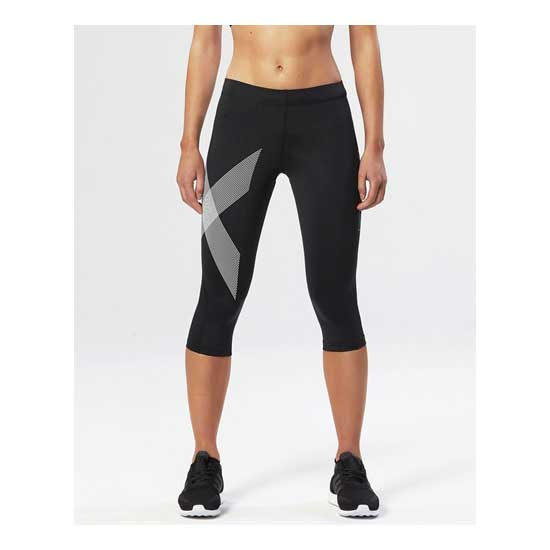 2XU-Women's-Compression-3-4-Tights-Black-Striped-White-1