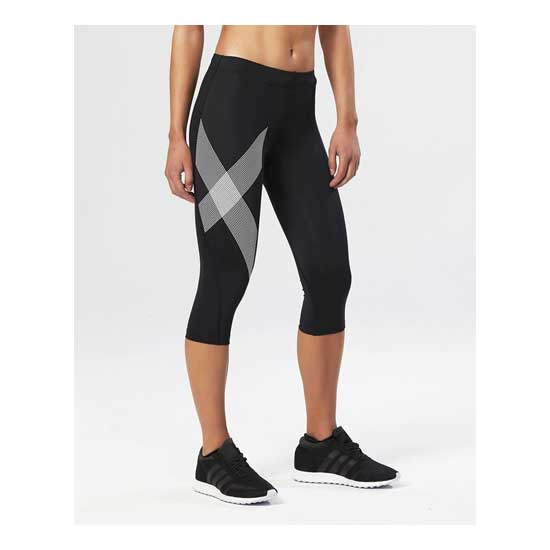 2XU-Women's-Compression-3-4-Tights-Black-Striped-White